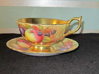 Antique AYNSLEY Signed N.Brunt Hand Painted 'Orchard Gold' Cup & Saucer