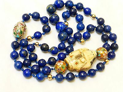 """Vintage Chinese 14k gold Lapis BEADS NECKLACE Signed Pendant 28"""" long, no Clasp"""