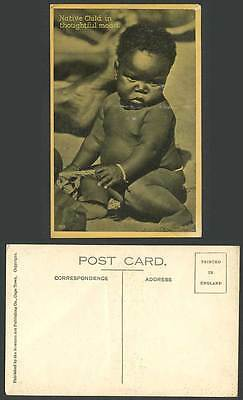 South Africa Native Child in Thoughtful Mood African Black Children Old Postcard