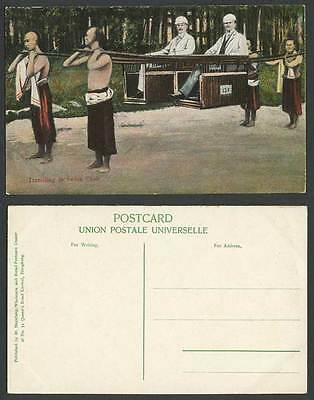 Hong Kong China Old Postcard Chinese Coolies White Men Travelling in SEDAN CHAIR