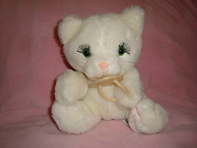 "Russ White Kitty Cat W/ Soother KIKI made in Korea Plush 8"" tall"