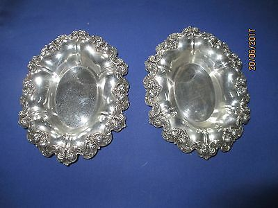 Pair Heavy Oval Gorham Sterling Bowls with Repousse' Borders