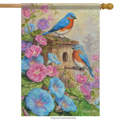 """Chickadee House Welcome Spring House Flag Double Sided Birds Floral 28/"""" x 40/"""""""