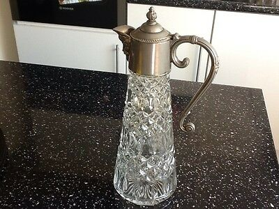Vintage Glass Decanter Jug with Metal Handle, Pourer & Lid