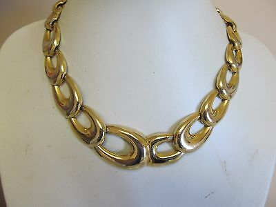 Gold Tone Graduated Wide Link Necklace