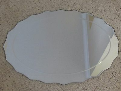 """Vintage & Unique 27"""" X 19"""" Oval Scalloped Beveled Wall Hanging Glass Mirror"""