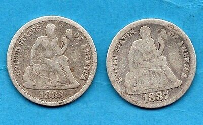 1883 & 1887 Usa Seated Liberty Dime Silver Coins. Philadelphia Mint. 2 X 10 Cent
