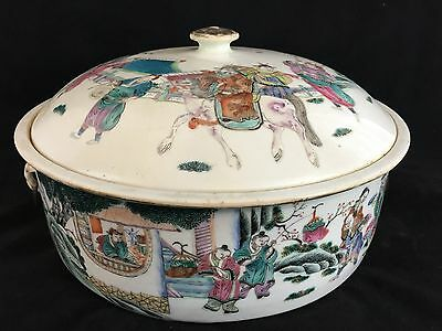 Large Chinese Decorated Porcelain Covered Dish/ Pot Qing Dynasty, Tung Zhi