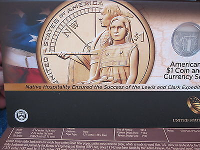 2014 D Sacagawea ANACS EU69 Enhanced Finish,  American $1 Coin and Currency Set
