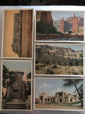 5 Vintage Postcard Colored Print Fred Harvey New Mexico Oldest Church Museum