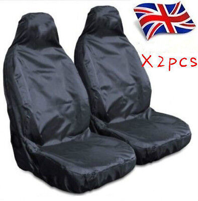 Heavy Duty Front Seat Covers Universal Car Van Black Waterproof Protectors Muddy