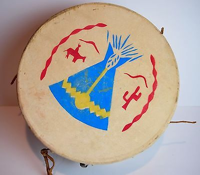 Vintage Native American Hide and Wood Toy Drum w/ Painted Indian Head and Teepee