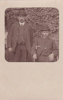Old Photo Postcard Handsome Men Bowler Hat Moustache S1