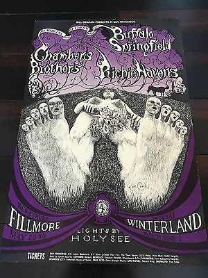 SIGNED BG 122 poster Lee Conklin BUFFALO SPRINGFIELD Richie Havens AOR fd