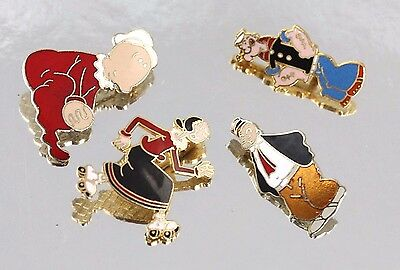 Lot of 4 Gold Pins Popeye Olive Oyl, Swee'Pea & J Wellington Wimpy King Features