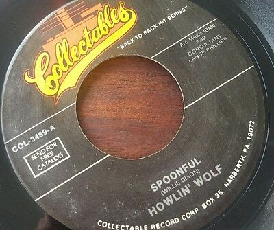 """HOWLIN' WOLF Spoonful / Smokestack Lightning COLLECTABLES REISSUE 7"""" VINYL VG+"""