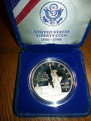 1986-S Proof Statue Of Liberty Silver Dollar Coin In Box