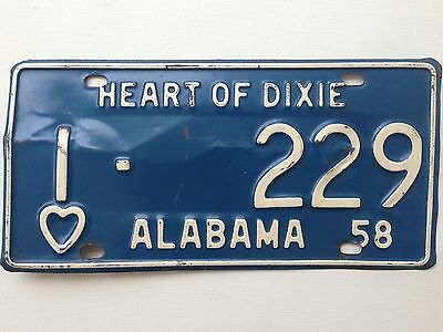 1958 Alabama License Plate Heart of Dixie Vintage