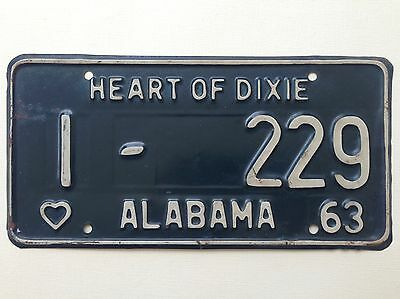 1963 Alabama License Plate Heart of Dixie Vintage