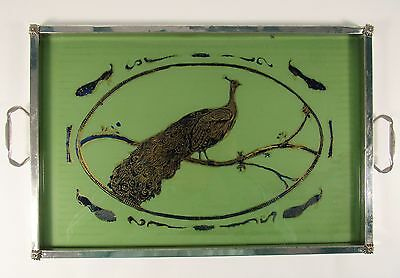 Antique PEACOCK Reverse Painting on Glass Art Deco Silvered Cocktail TRAY