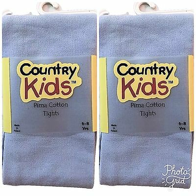 2 PAIR Country Kids Girl's Pima Cotton Tights Baby Blue Color 6-8 Years