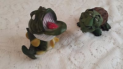 2 Vintage Tournament Bass & Snapping Turtle Bobble Head Nodder - Resin Fishing