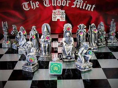 "Vintage  Pewter Chess Set ""tudor Mint ""1993 Design By ""sharon Riley + Board"