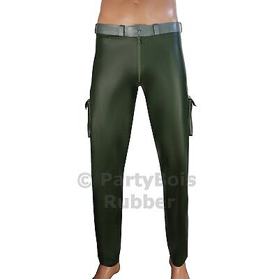 Rubber latex Army military style jeans trouser pants in Amy green HANDMADE