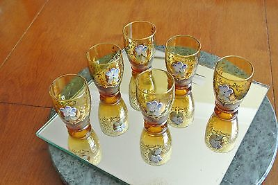 6 Brown Small Glasses with Blue Porcelain Flower 7cm high
