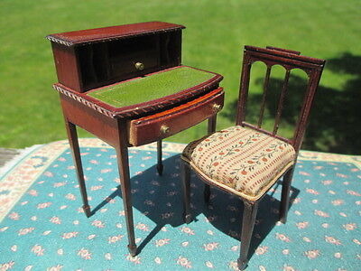 Dollhouse Miniatures ~ Dennis Jenvey Handcrafted Desk & Chair ~ Made In England
