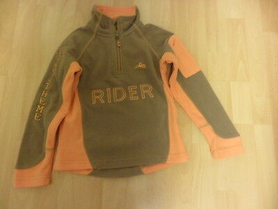 Equi-Theme Girls Beige and Orange Riding Fleece Age 5-7