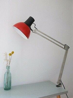 Vintage Red & Chrome Architects Anglepoise Style 20th Century Clamp Desk Lamp