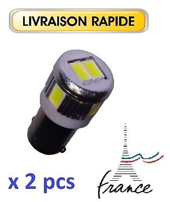 2 veilleuses LED BA9S T4W Canbus ANTI ERREUR BLANC XENON 6000K 6 SMD VOITURE