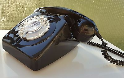 Original Vintage Retro 1970's GPO 746 Rotary Dial Black Telephone Restored