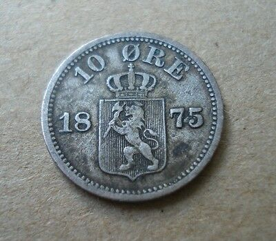 Norway. 10 Ore 1875. .400 Silver. Scarce coin.