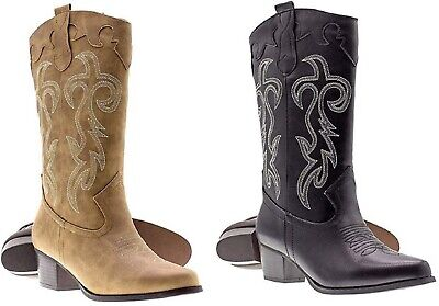 Womens Ladies Faux Leather Western Cowboy Boots W/Traditional Embroidery