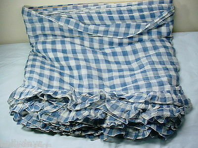 Antique French Curtain Fabric Huge Lot 28ft Blue Checkered Cotton Gauze Fabric