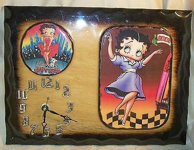 Hand-made U.S.A. ~ Betty Boop Wood Decoupage Wall Clock