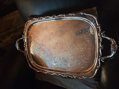 Footed Rogers Bros W/ Trademark Heritage Silver Plated Rectangular Serving Tray