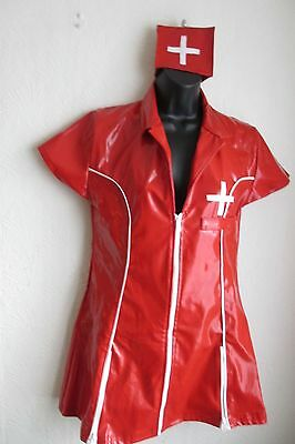 Nurse Fancy Dress Costume in Red and White PVC - Size XL/14 - BNWT