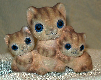 Orange Flocked Tabby Kitty Cats ~ Blue Glass Eyes by George Good ~ Made in Japan