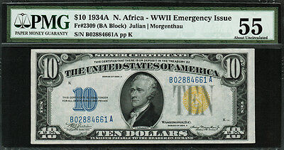 1934A $10 North Africa WWII Emergency Issue FR-2309 - PMG 55 - AU