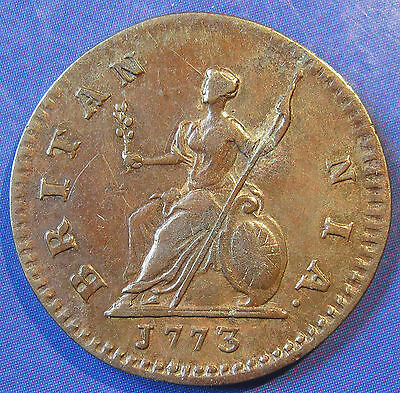 1773 ¼d George III copper Farthing in a good strong grade.  Obv 1, Peck 911