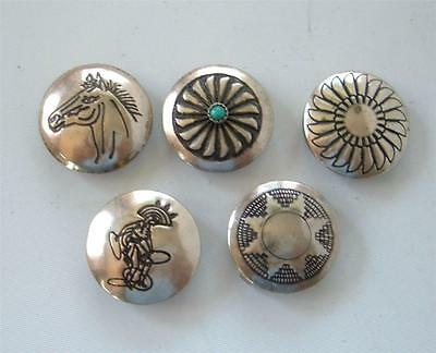 Vintage Navajo Sterling Silver Button Covers Horse Dancer Concho Turquoise Set 5