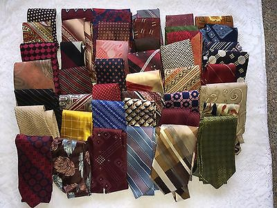 Vintage Neck Ties Lot Of 45 For Wear, Quilting,  Or Crafts