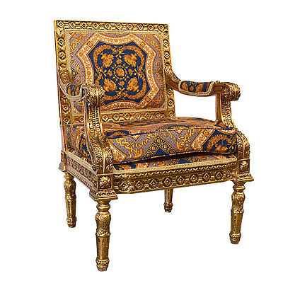 Versaille Gilt French Rococo Baroque Carved Chair,Blue/Gold