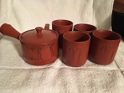 Japanese Old Bizen-Ware Reddish Brown Pottery Teapot and 4 Cups Green Tea Set