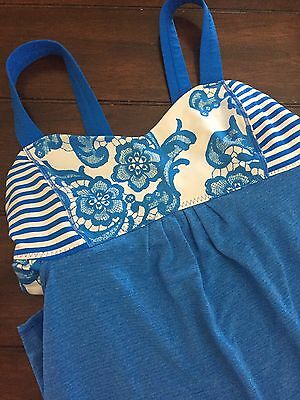 Lululemon Beaming Blue Lacoflage Floral White Back On Track Tank Top Sz 6