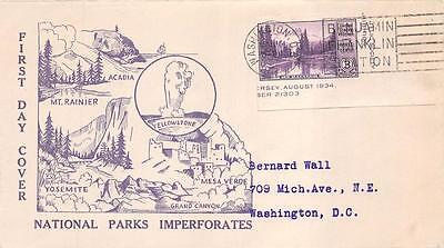 758 3c Imperforate Mount Rainier, First Day Cover Cachet [E234251]