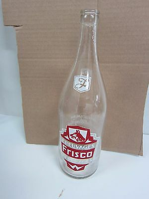 1940's Rare Vintage Frisco Beverages  30 oz Soda Glass Bottle  Canada